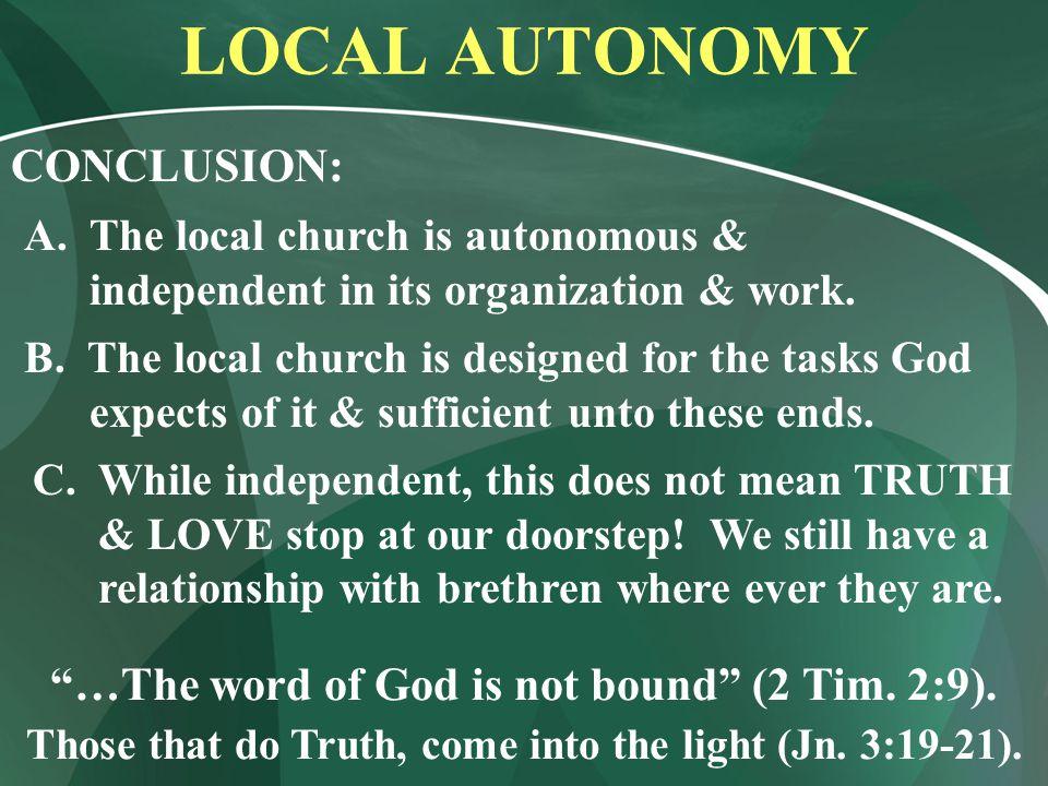 LOCAL AUTONOMY CONCLUSION: A.