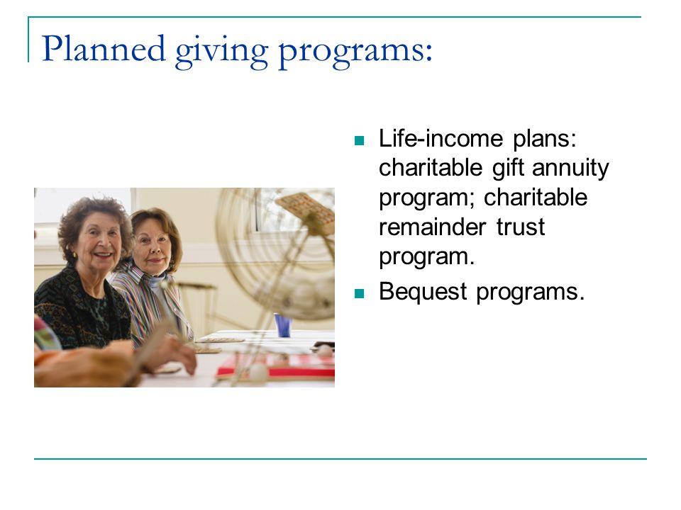 Planned giving programs: Life-income plans: charitable gift annuity program; charitable remainder trust program. Bequest programs.