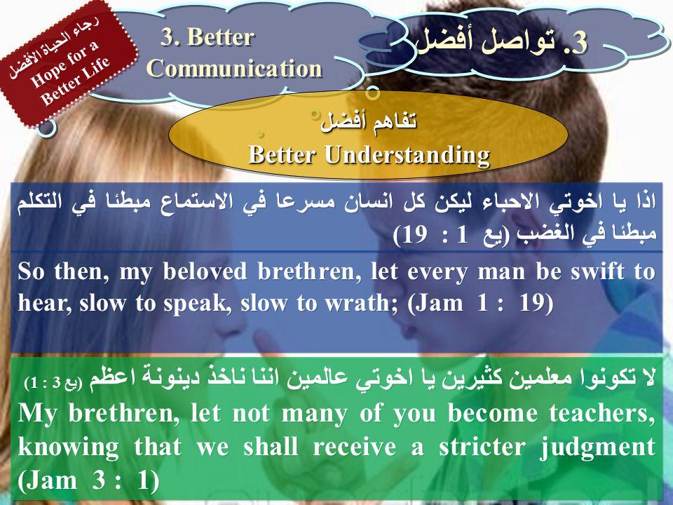 اذا يا اخوتي الاحباء ليكن كل انسان مسرعا في الاستماع مبطئا في التكلم مبطئا في الغضب (يع 1 : 19) So then, my beloved brethren, let every man be swift to hear, slow to speak, slow to wrath; (Jam 1 : 19) 3.