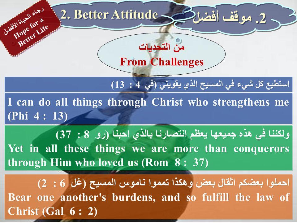 استطيع كل شيء في المسيح الذي يقويني (في 4 : 13) I can do all things through Christ who strengthens me (Phi 4 : 13) 2.