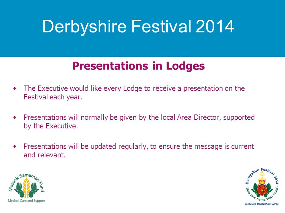 Derbyshire Festival 2014 Presentations in Lodges The Executive would like every Lodge to receive a presentation on the Festival each year.