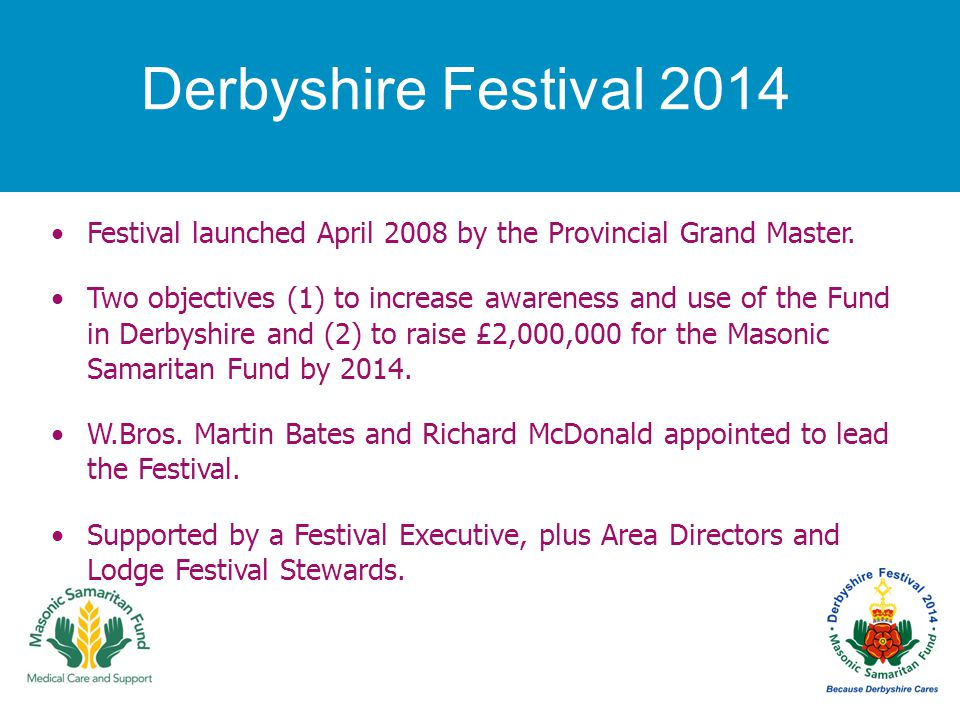 Derbyshire Festival 2014 Festival launched April 2008 by the Provincial Grand Master. Two objectives (1) to increase awareness and use of the Fund in