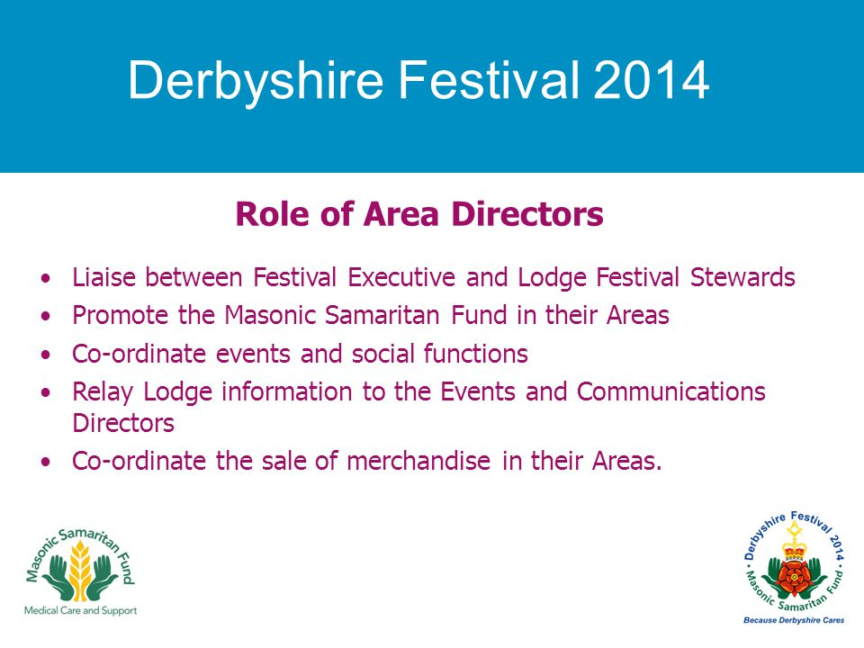 Derbyshire Festival 2014 Role of Area Directors Liaise between Festival Executive and Lodge Festival Stewards Promote the Masonic Samaritan Fund in their Areas Co-ordinate events and social functions Relay Lodge information to the Events and Communications Directors Co-ordinate the sale of merchandise in their Areas.