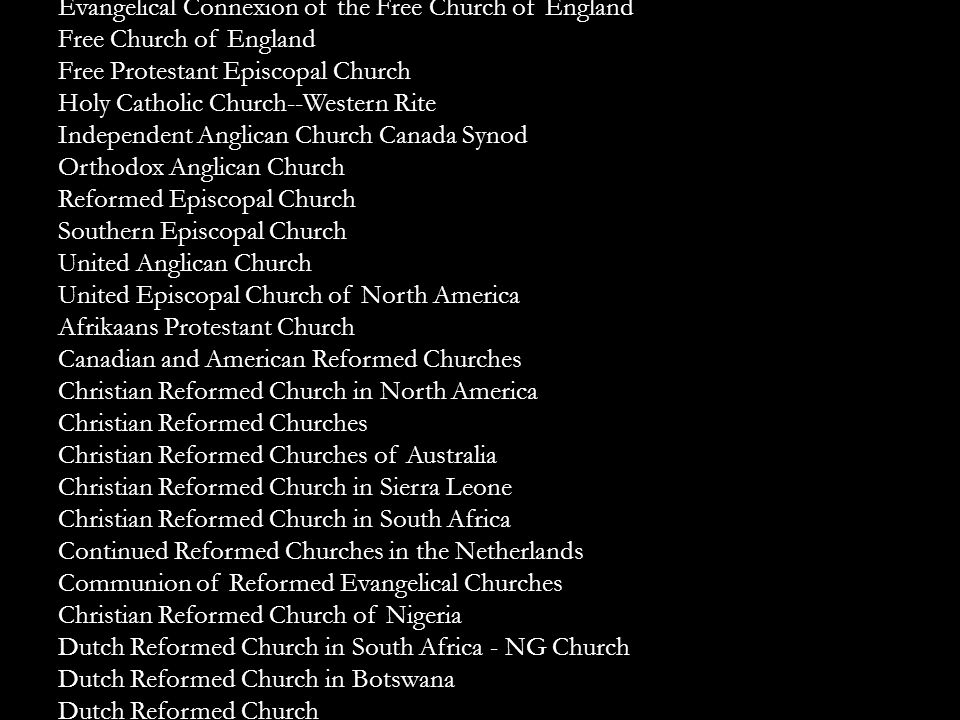Diocese of the Great Lakes Diocese of the Holy Cross Episcopal Missionary Church Evangelical Connexion of the Free Church of England Free Church of En