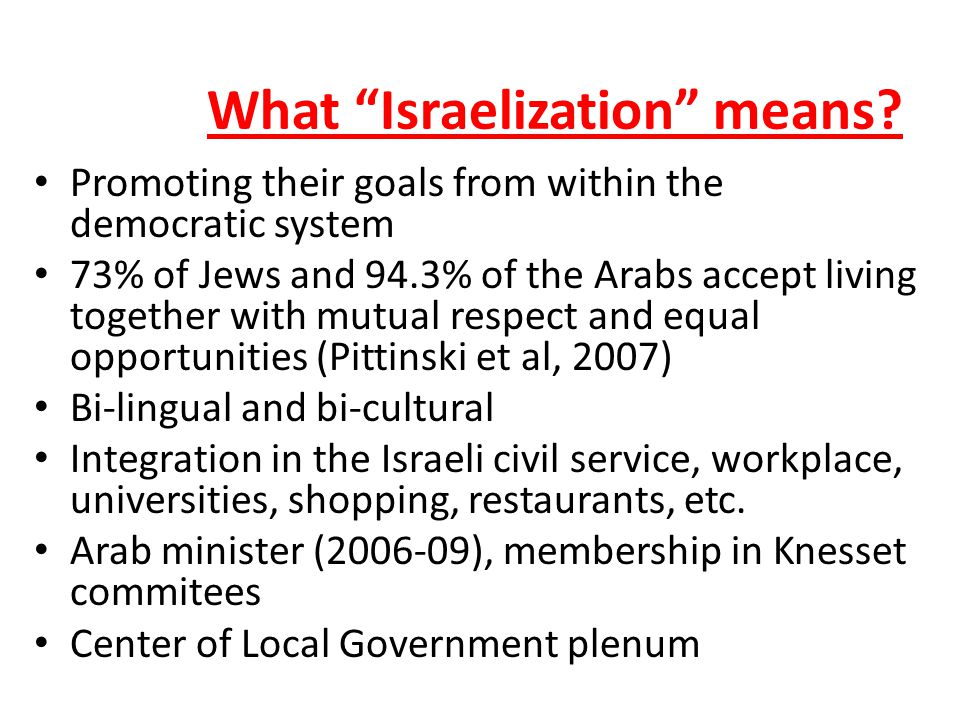 What Israelization means.