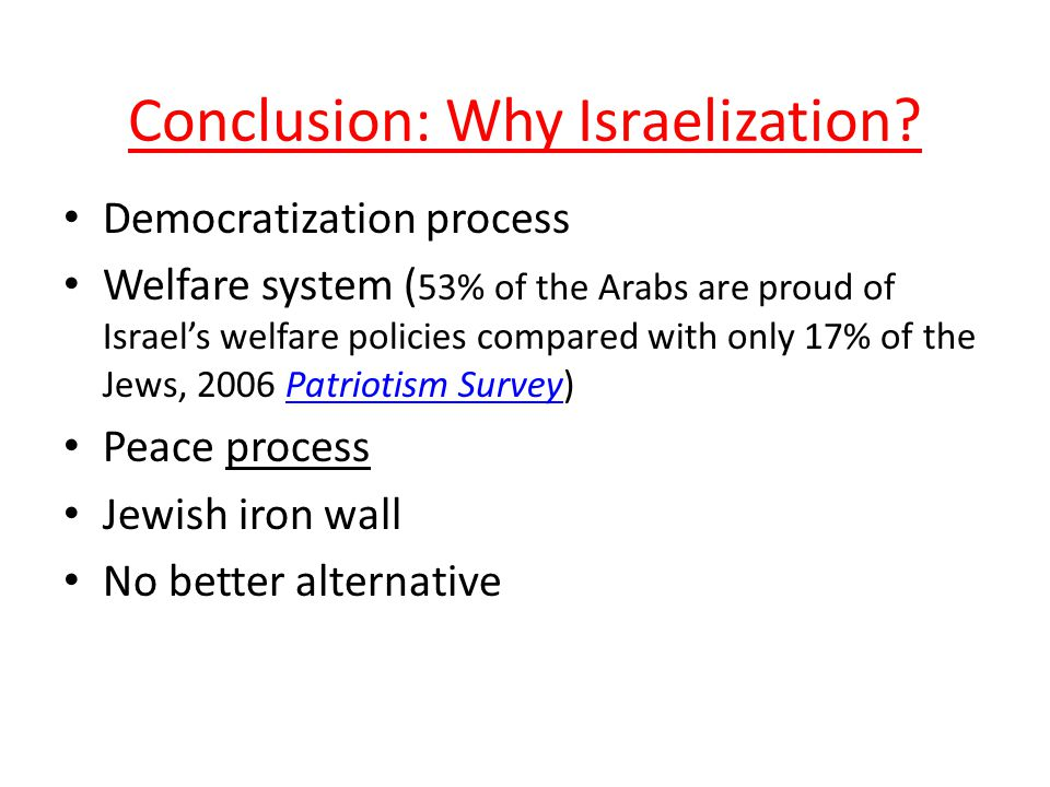 Conclusion: Why Israelization.