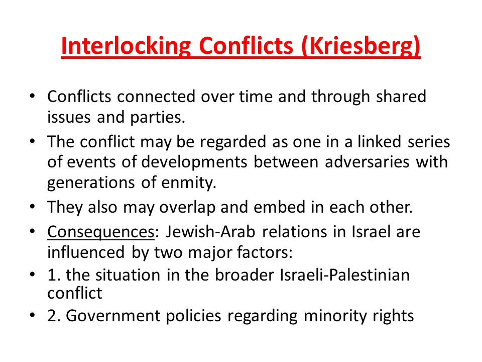 Interlocking Conflicts (Kriesberg) Conflicts connected over time and through shared issues and parties. The conflict may be regarded as one in a linke