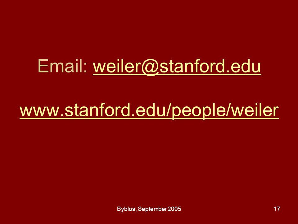 Byblos, September 200517 Email: weiler@stanford.edu www.stanford.edu/people/weilerweiler@stanford.edu www.stanford.edu/people/weiler