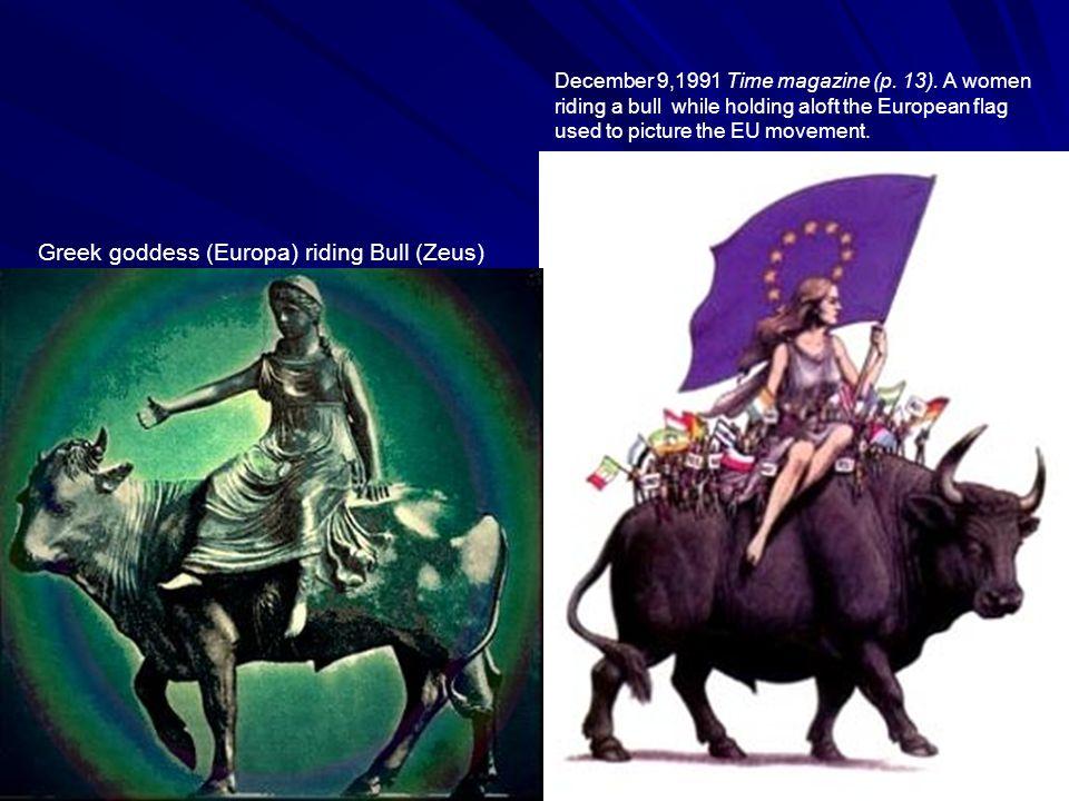 Greek goddess (Europa) riding Bull (Zeus) December 9,1991 Time magazine (p.