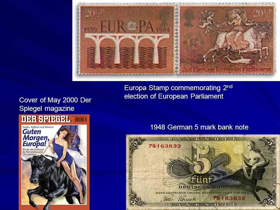 1948 German 5 mark bank note Europa Stamp commemorating 2 nd election of European Parliament Cover of May 2000 Der Spiegel magazine