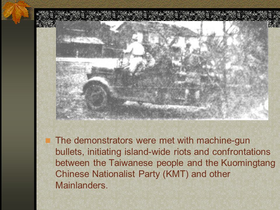 On February 28, 1947, a group of Taiwanese demonstrators gathered in Taiwan's capital, Taipei, demanding reforms after the fatal police brutality incident the day before.