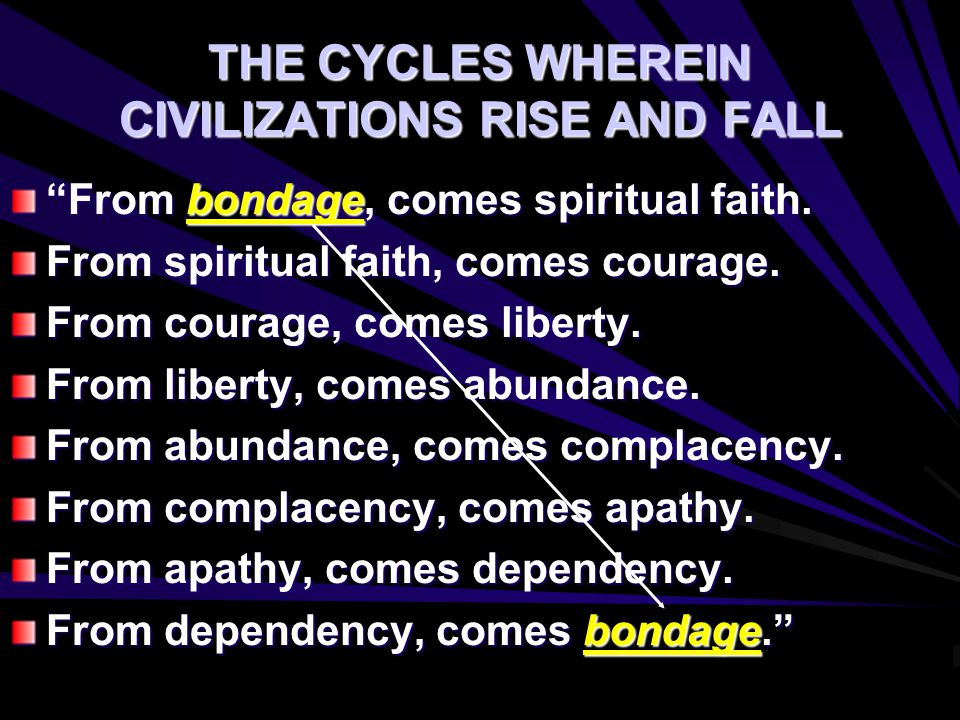 "THE CYCLES WHEREIN CIVILIZATIONS RISE AND FALL ""From bondage, comes spiritual faith. From spiritual faith, comes courage. From courage, comes liberty."