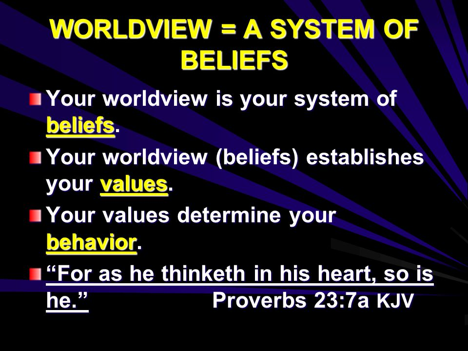 WORLDVIEW = A SYSTEM OF BELIEFS Your worldview is your system of beliefs.