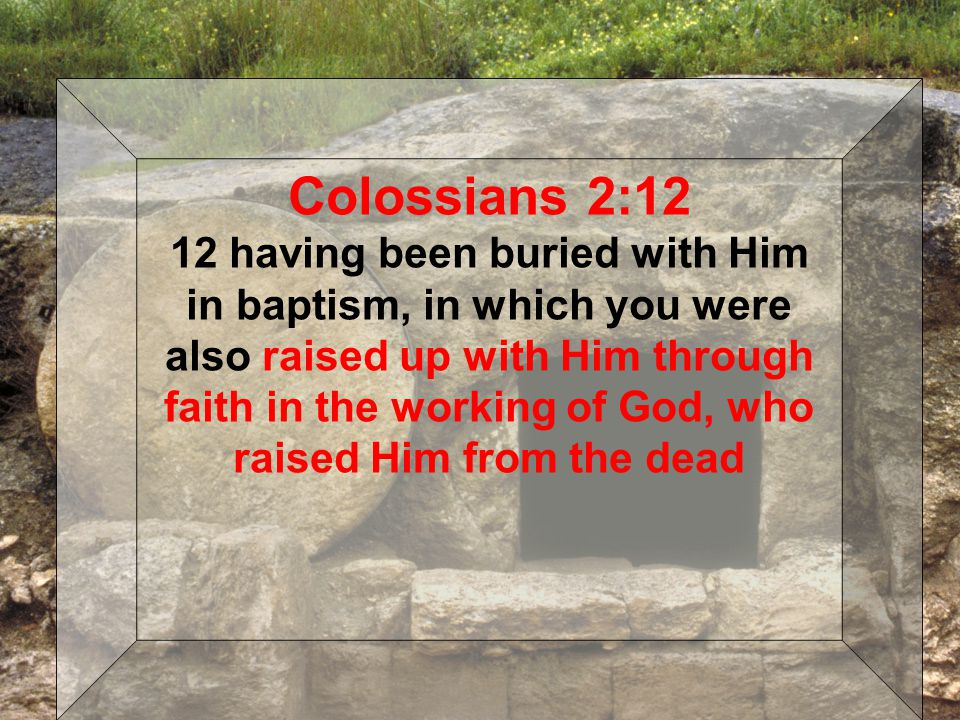 Colossians 2:12 12 having been buried with Him in baptism, in which you were also raised up with Him through faith in the working of God, who raised Him from the dead