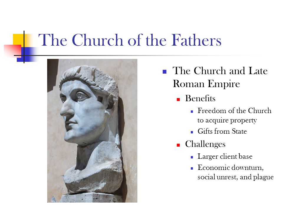 The Church of the Fathers Rise of Institutional care, including: Xenodocheion (strangers) Nosocomeion (sick) Orphanotropheion (orphans) Brephotropheion (foundlings) Gerocomeion (elderly) Ptocheion/Ptochotropheion (poor)