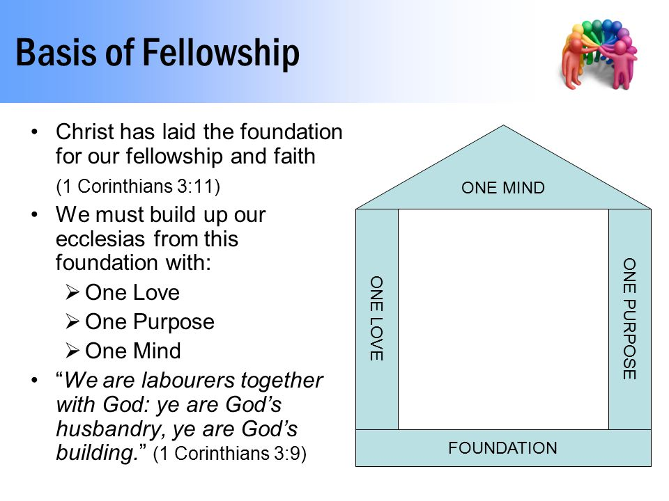 Basis of Fellowship Christ has laid the foundation for our fellowship and faith (1 Corinthians 3:11) We must build up our ecclesias from this foundati
