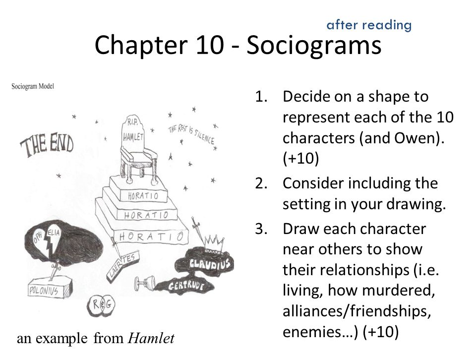 Chapter 10 - Sociograms 1.Decide on a shape to represent each of the 10 characters (and Owen). (+10) 2.Consider including the setting in your drawing.