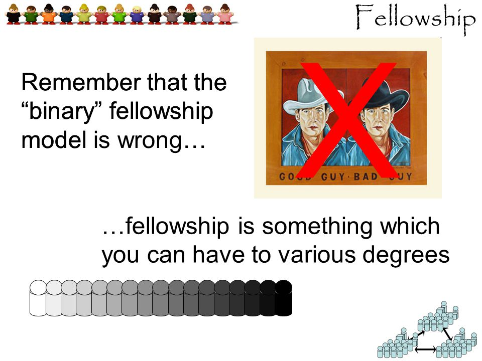 Remember that the binary fellowship model Fellowship Remember that the binary fellowship model is wrong… …fellowship is something which you can have to various degrees Χ