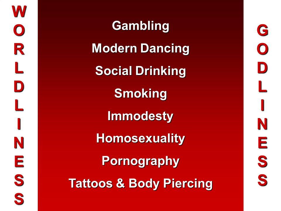 WORLDLINESSWORLDLINESSWORLDLINESSWORLDLINESS GODLINESSGODLINESSGODLINESSGODLINESS Gambling Modern Dancing Social Drinking SmokingImmodestyHomosexualit