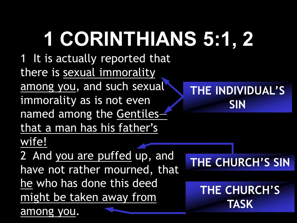 1 CORINTHIANS 5:1, 2 1 It is actually reported that there is sexual immorality among you, and such sexual immorality as is not even named among the Gentiles— that a man has his father's wife.