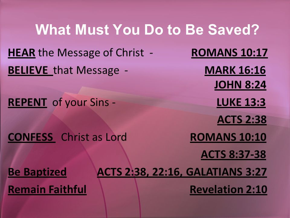 What Must You Do to Be Saved.