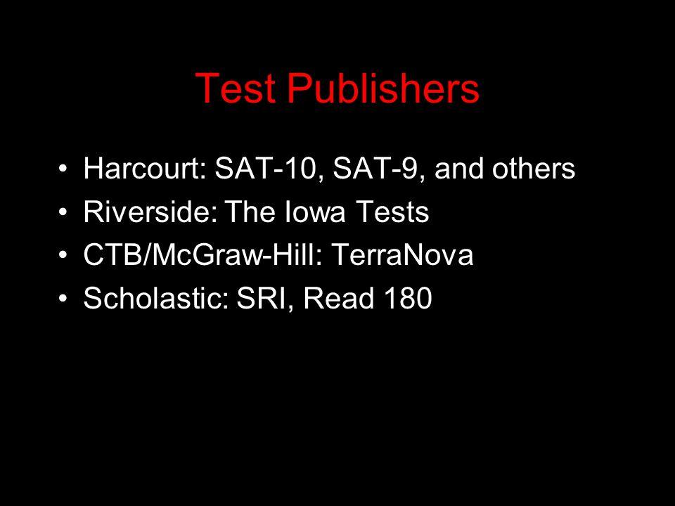 Test Publishers Harcourt: SAT-10, SAT-9, and others Riverside: The Iowa Tests CTB/McGraw-Hill: TerraNova Scholastic: SRI, Read 180