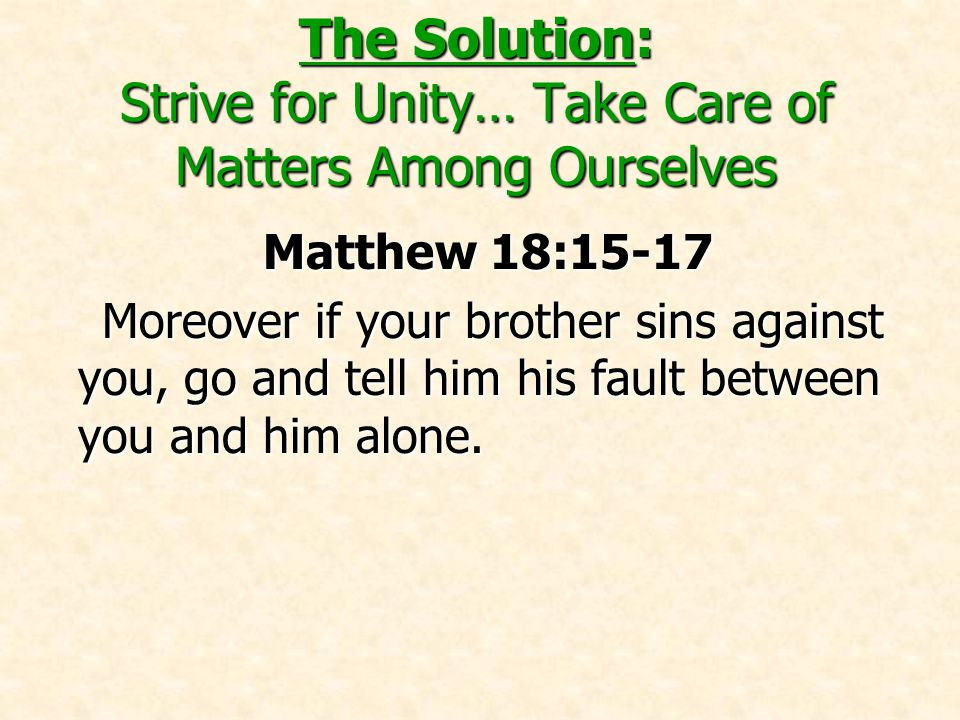 The Solution: Strive for Unity… Take Care of Matters Among Ourselves Matthew 18:15-17 Moreover if your brother sins against you, go and tell him his fault between you and him alone.