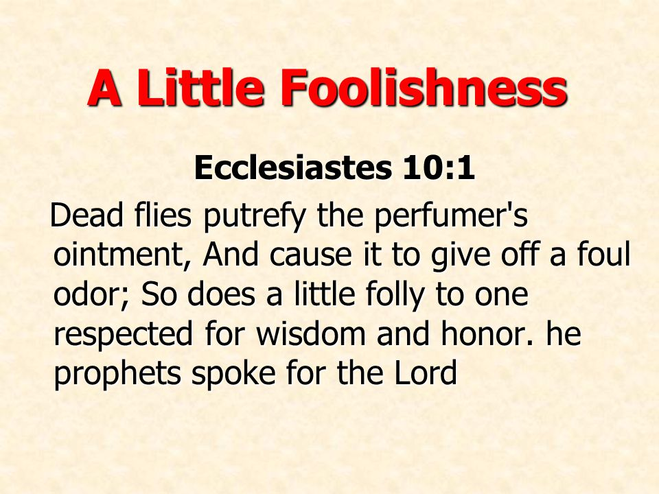 A Little Foolishness Ecclesiastes 10:1 Dead flies putrefy the perfumer s ointment, And cause it to give off a foul odor; So does a little folly to one respected for wisdom and honor.