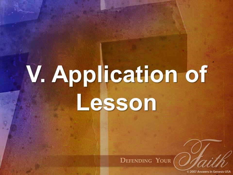 V. Application of Lesson