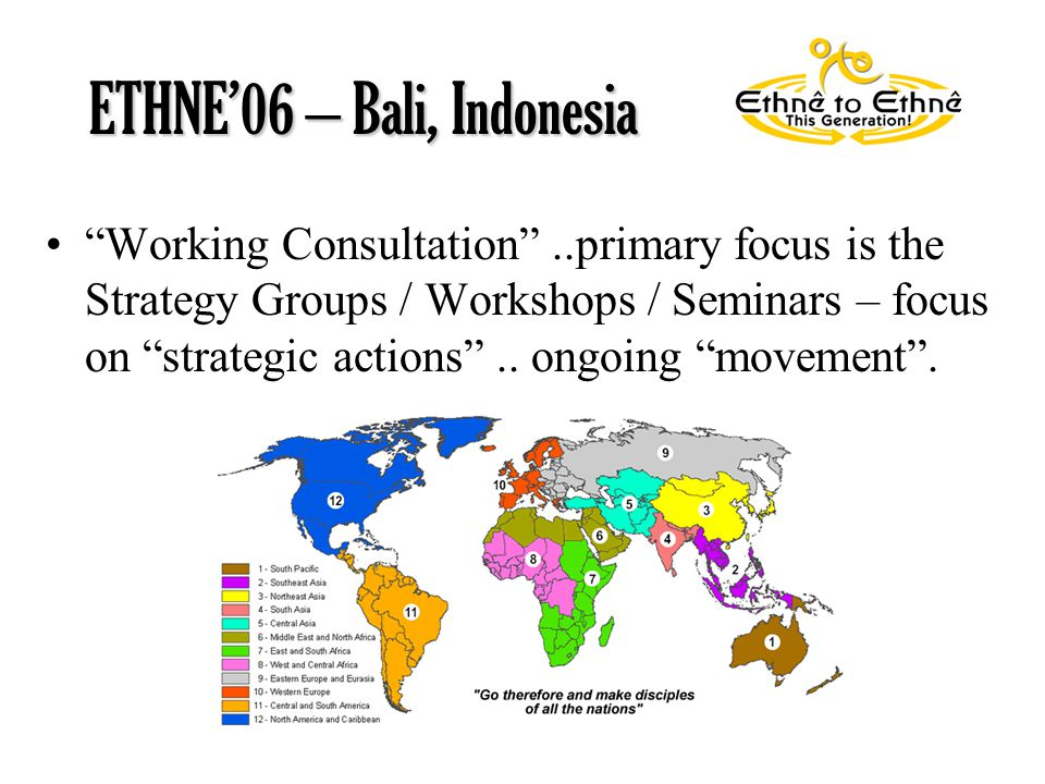 Working Consultation ..primary focus is the Strategy Groups / Workshops / Seminars – focus on strategic actions ..