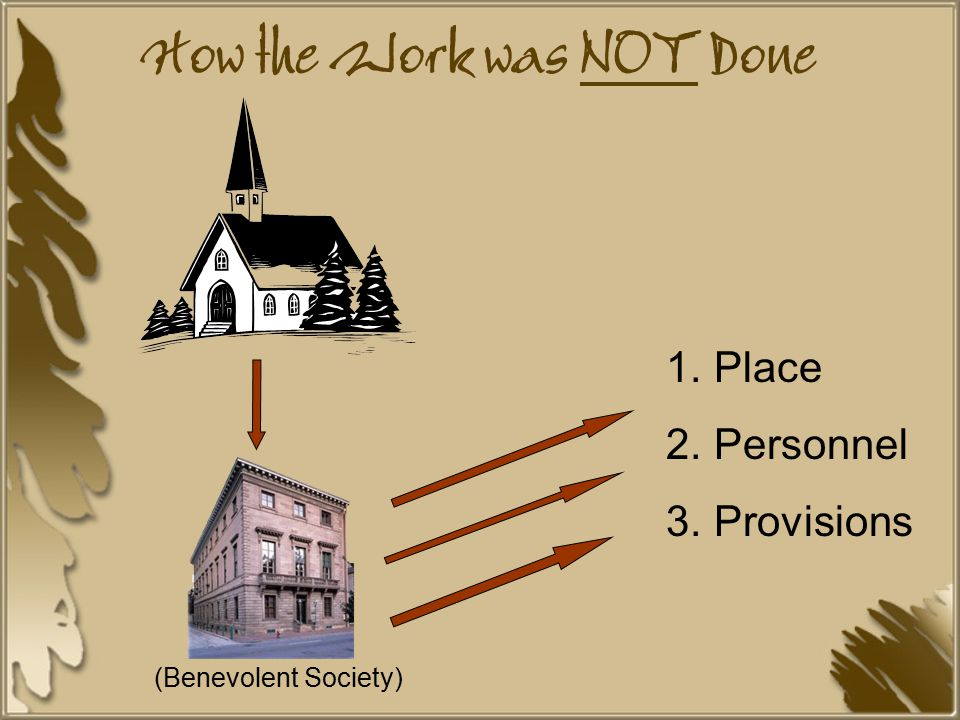 How the Work was NOT Done 1.Place 2.Personnel 3.Provisions (Benevolent Society)