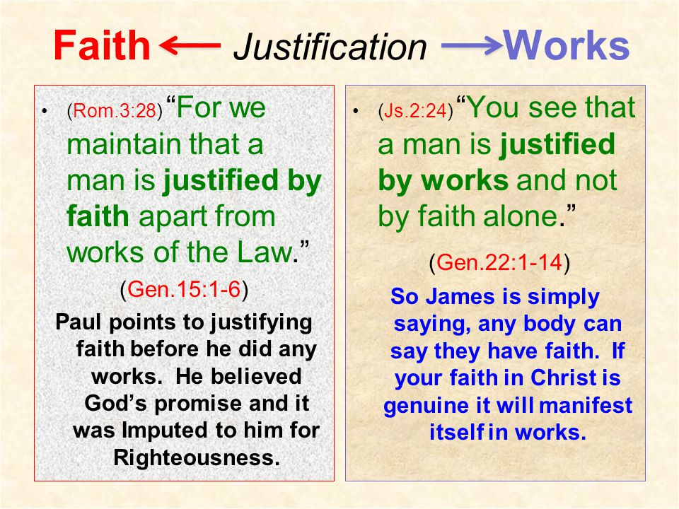 Faith Justification Works (Rom.3:28) For we maintain that a man is justified by faith apart from works of the Law. (Gen.15:1-6) Paul points to justifying faith before he did any works.
