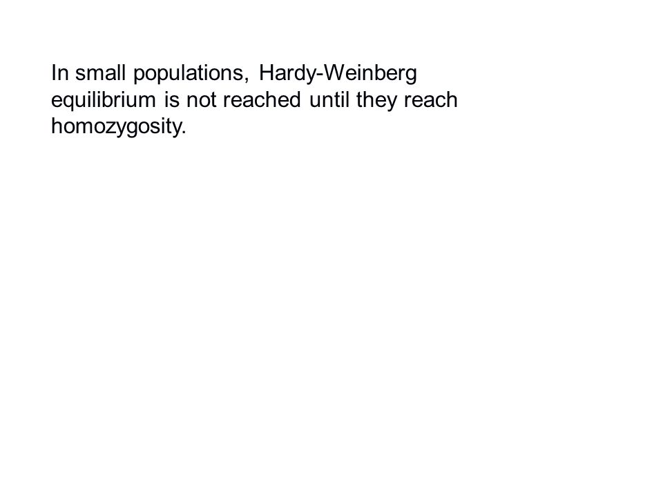 In small populations, Hardy-Weinberg equilibrium is not reached until they reach homozygosity.