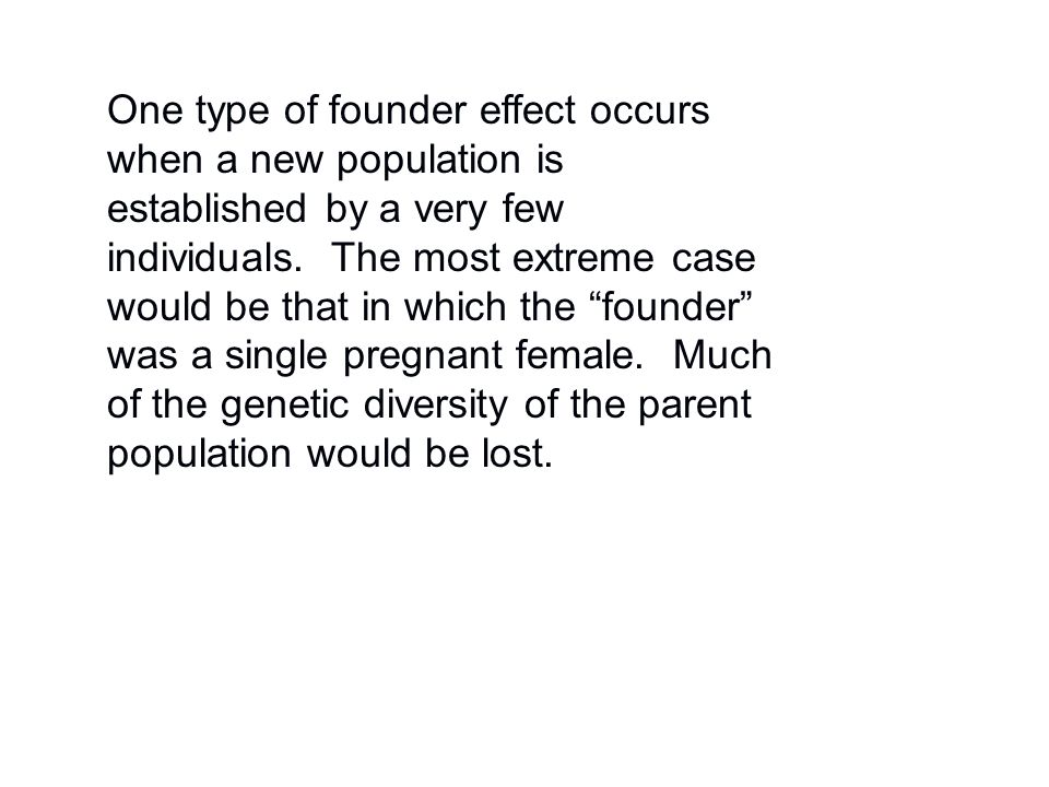 """One type of founder effect occurs when a new population is established by a very few individuals. The most extreme case would be that in which the """"fo"""
