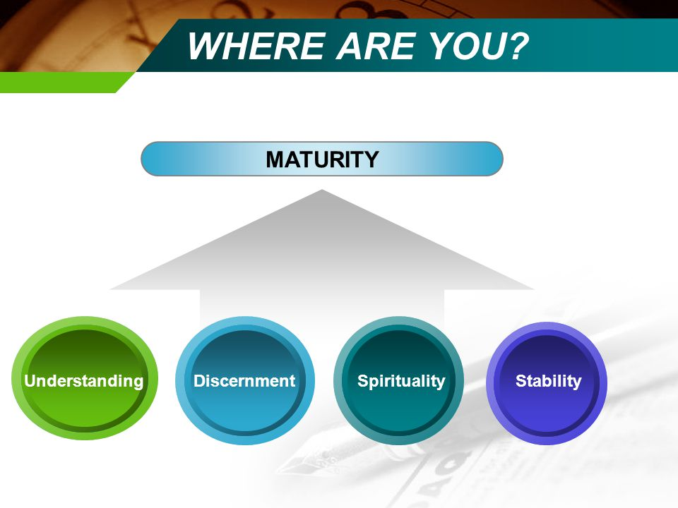 WHERE ARE YOU MATURITY UnderstandingSpiritualityDiscernmentStability