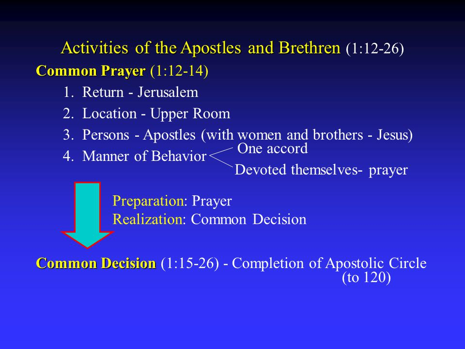 Common Decision (1:15-26) - Completion of apostle circle (to 120) Speech of Peter 1.
