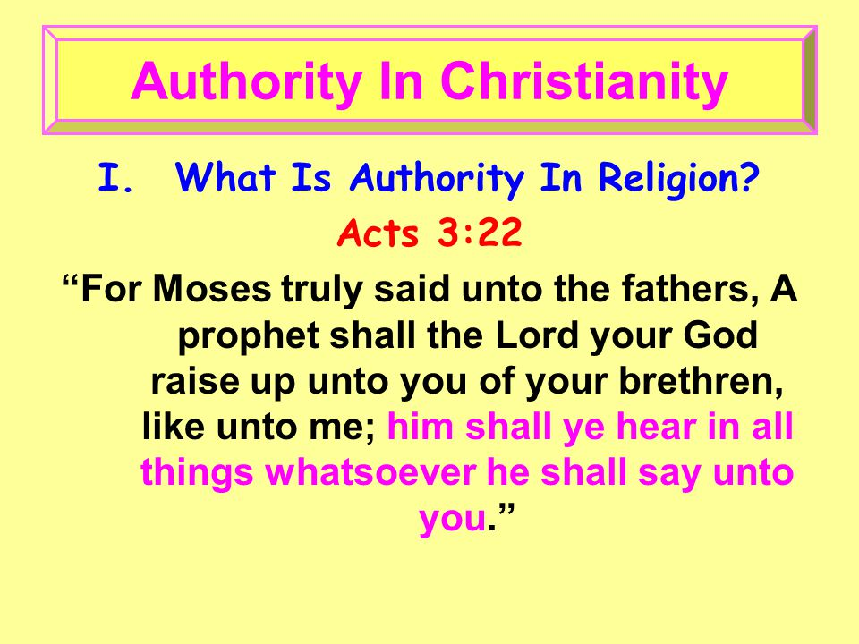 I.What Is Authority In Religion.