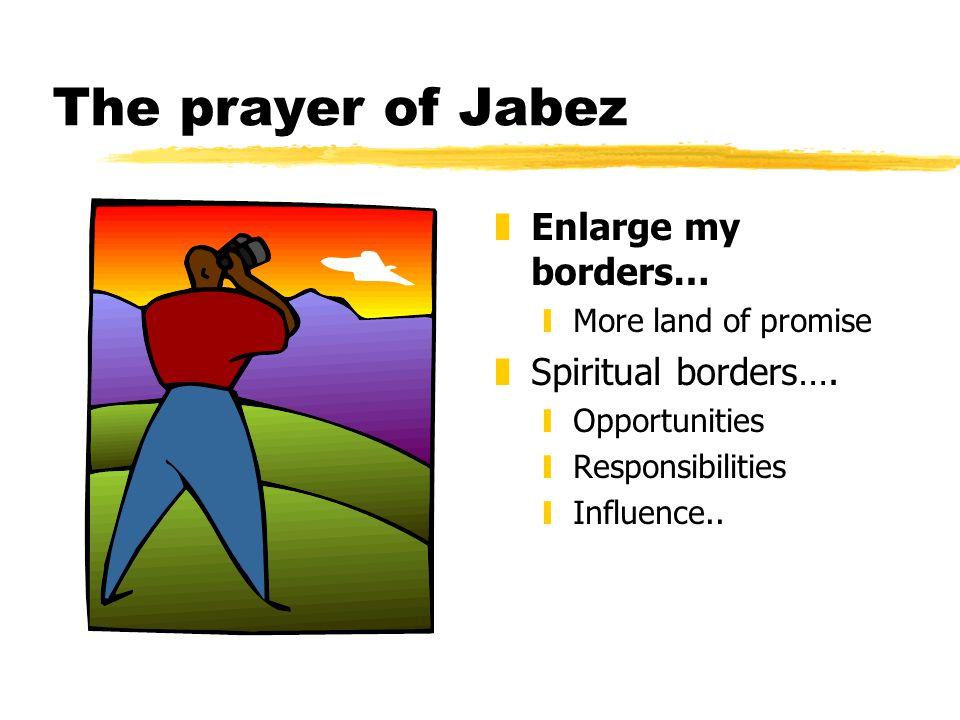 The prayer of Jabez z Enlarge my borders… yMore land of promise z Spiritual borders….