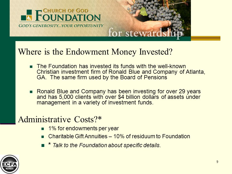 9 Where is the Endowment Money Invested.