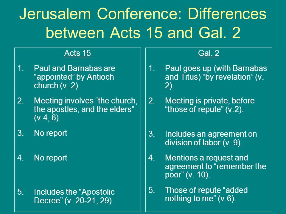 "Jerusalem Conference: Differences between Acts 15 and Gal. 2 Acts 15 1.Paul and Barnabas are ""appointed"" by Antioch church (v. 2). 2.Meeting involves"