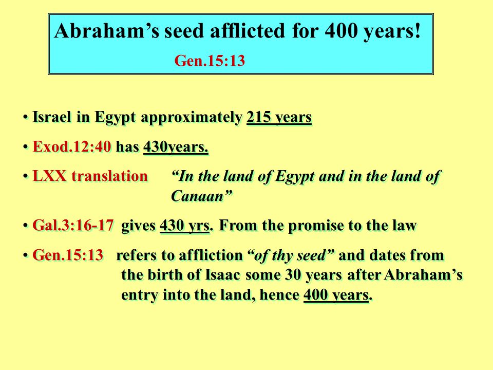 Abraham's seed afflicted for 400 years.