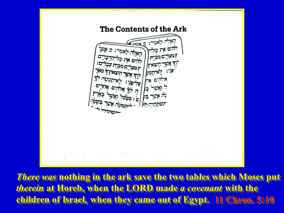 There was nothing in the ark save the two tables which Moses put therein at Horeb, when the LORD made a covenant with the children of Israel, when they came out of Egypt.