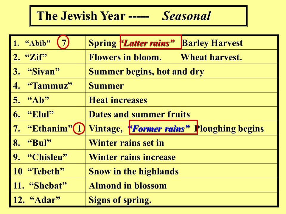 The Jewish Year ----- Seasonal 1. Abib 7 Spring Latter rains Barley Harvest 2. Zif Flowers in bloom.