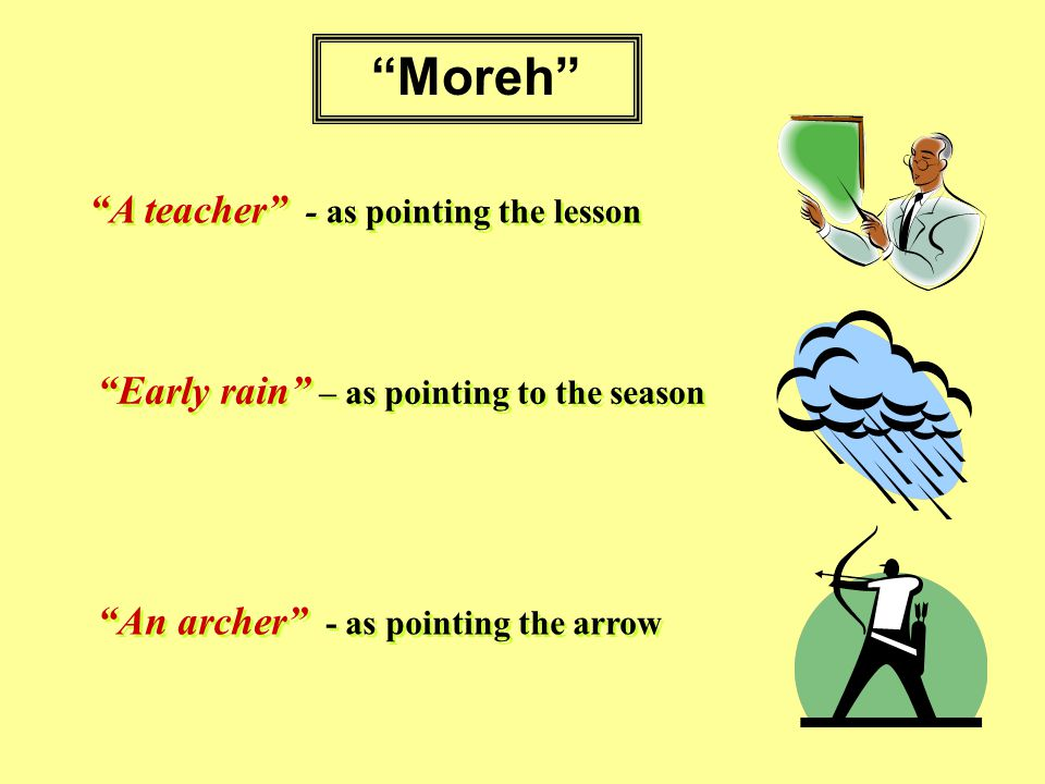 Moreh A teacher - as pointing the lesson Early rain – as pointing to the season An archer - as pointing the arrow