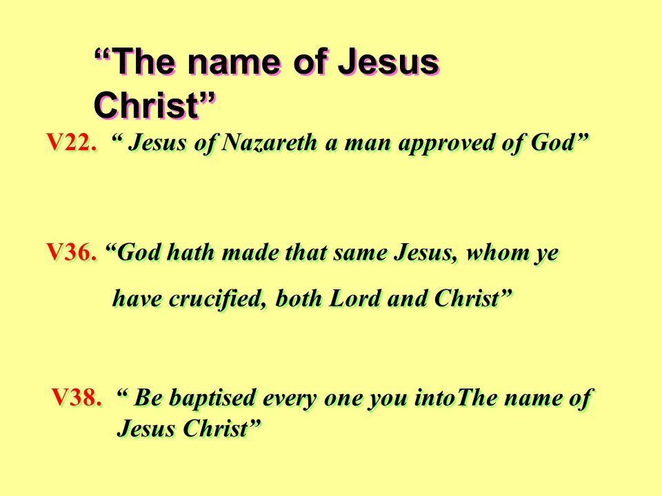 The name of Jesus Christ V22. Jesus of Nazareth a man approved of God V36.