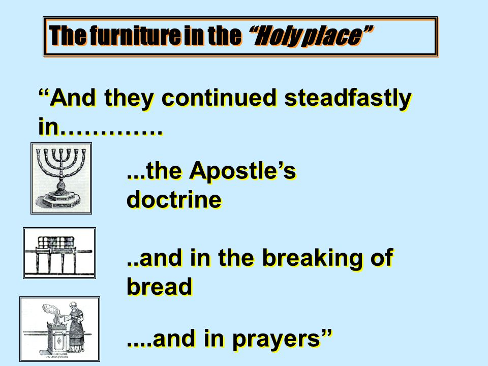 The furniture in the Holy place And they continued steadfastly in…………....the Apostle's doctrine..and in the breaking of bread....and in prayers