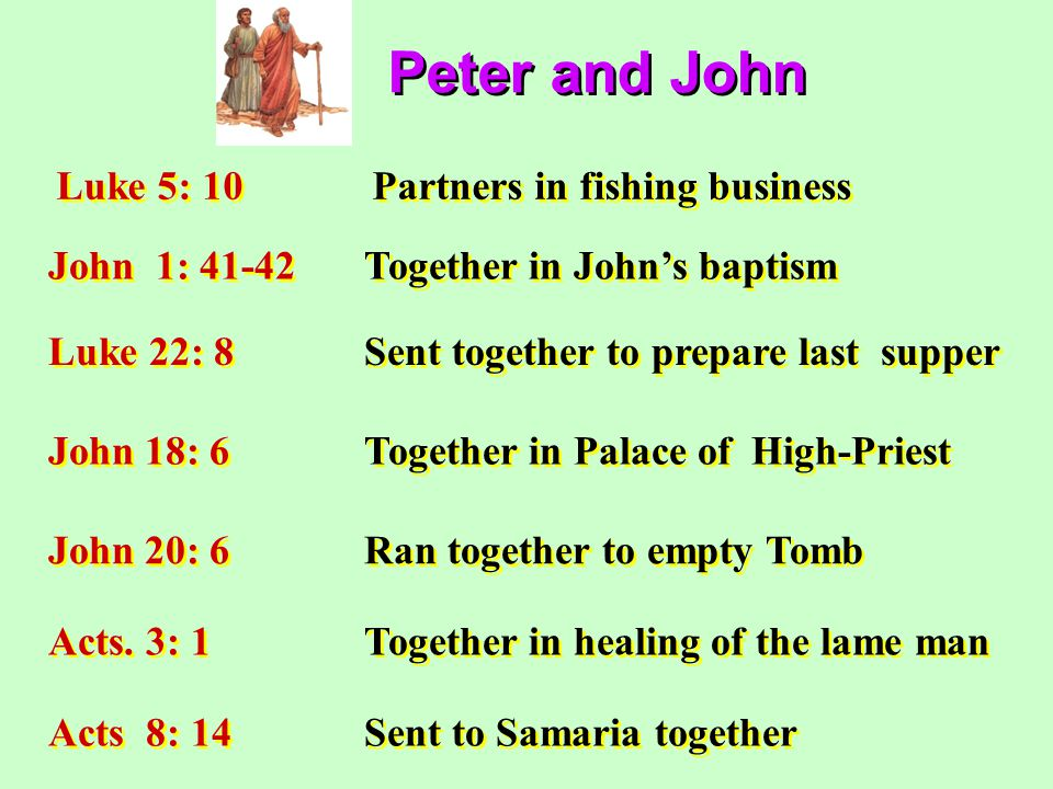Peter and John Luke 5: 10Partners in fishing business John 1: 41-42Together in John's baptism Luke 22: 8Sent together to prepare last supper John 18: 6Together in Palace of High-Priest John 20: 6Ran together to empty Tomb Acts.
