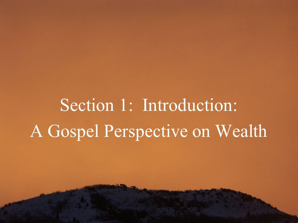 Section 1: Introduction: A Gospel Perspective on Wealth