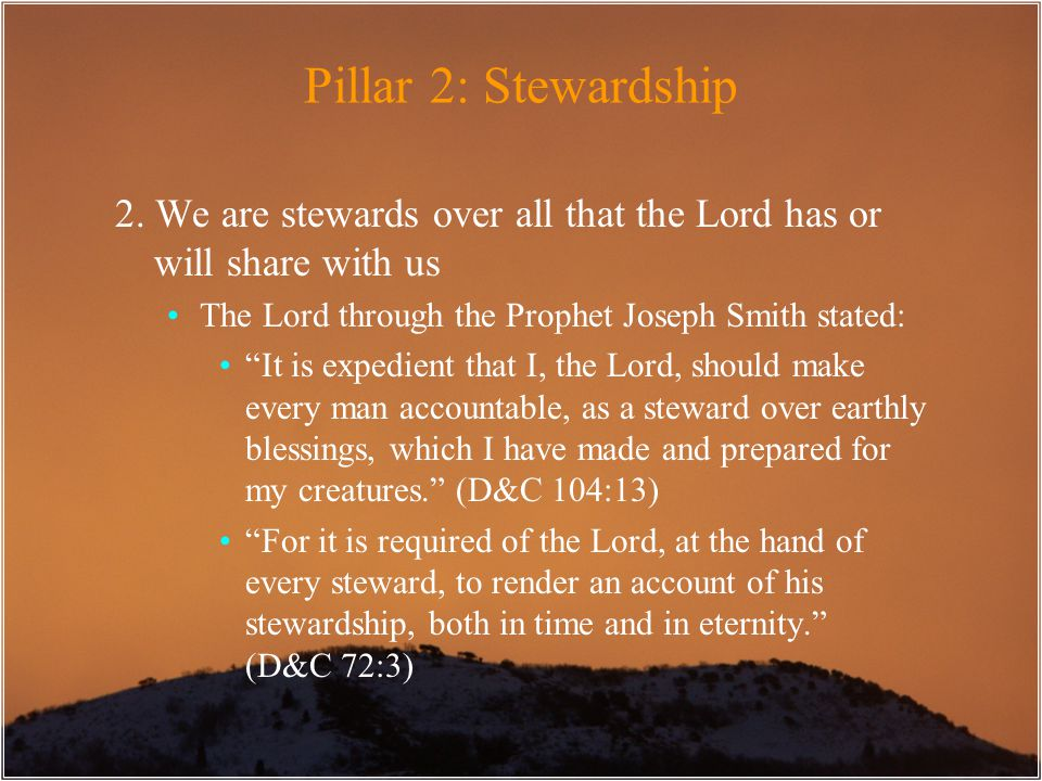 "Pillar 2: Stewardship 2. We are stewards over all that the Lord has or will share with us The Lord through the Prophet Joseph Smith stated: ""It is exp"