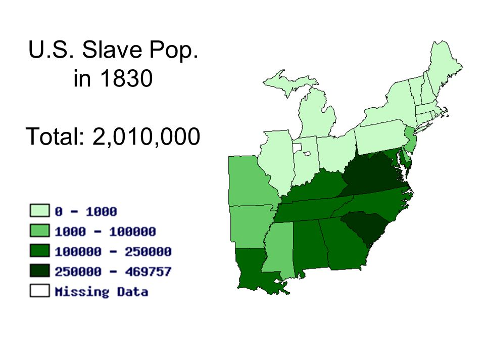 U.S. Slave Pop. in 1830 Total: 2,010,000